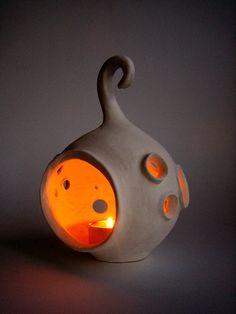 "$38 plus $12 S/H.  4.5"" x 6.5""  Ceramic lantern  Moon  Handmade ceramic lantern  by Artglinka, Russia"