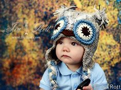 Frosty Owl Hat with Ear Flaps - Made to ORDER from Newborn to 5 years. $35.00, via Etsy.
