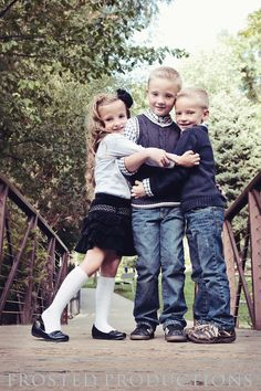 three little kids, brothers and sisters photo