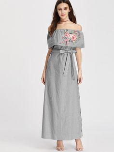 AdoreWe - MAKEMECHIC Embroidered Flounce Off Shoulder Belted Striped Dress - AdoreWe.com