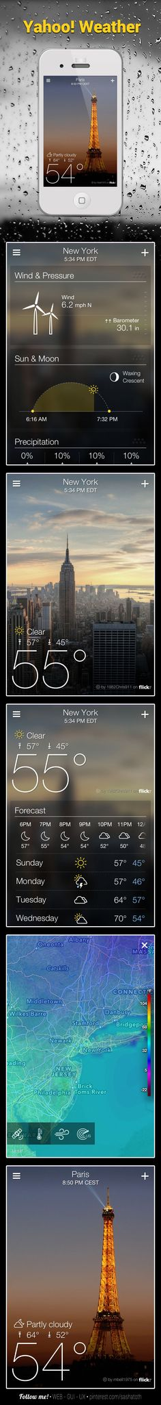 WEATHER *** Yahoo has launched a new standalone iPhone weather app called Yahoo! Weather, along with an upgraded version of its Yahoo! Mail app that brings the native mail app experience to the iPad. source:macrumors *** This is an awesome app! Mobile Web Design, Web Ui Design, Flat Design, Yahoo Weather App, Ui Web, User Interface Design, Web Design Inspiration, Ipad, Weather Update