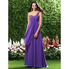 Sheath/ Column One Shoulder Empire Floor-length Chiffon Bridesmaid Dress – USD $ 97.99