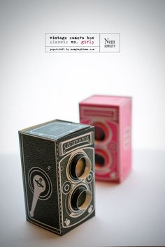 Vintage Camera Box. Click on link for free templates. www.nemgraphisme....