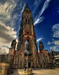 The Gothic Revival Church of St. Nicholas (German: St.-Nikolai-Kirche) Harvestehude district. Germany