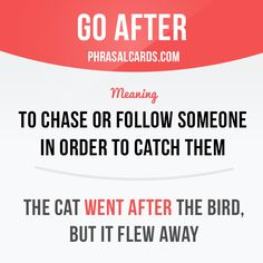 """Go after"" means ""to ​chase or ​follow someone in ​order to ​catch them""…"
