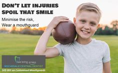 Sports-Related Dental Injuries can be traumatic for kids. Don't let sports injuries spoil your kid's smile. Minimise the risk, wear a custom fitted mouthguard. Call 07 3414 3999 to schedule an appointment for a consultation with Dr. Manju or book online. Don't Let, Let It Be, Spoil Yourself, Mouth Guard, Beautiful Smile, Self Esteem, Trauma, Schedule, Dental