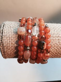 A personal favorite from my Etsy shop https://www.etsy.com/listing/254113043/orange-beaded-wrap-bracelet-orange-and