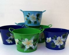 SIX Artfully Hand Painted Enameled Tinware Mini-tubs Floral Supplies, Tubs, Etsy Seller, Home And Garden, Hand Painted, Create, Mini, Painting, Bathtubs
