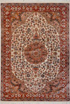"Ivory Persian Silk Isfahan Rug 4' 1"" x 6' 1"" (ft) - No. 12088  http://alrug.com/ivory-persian-silk-isfahan-rug-4-1-x-6-1-ft-no-12088.html"