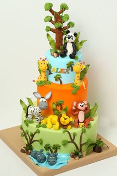 vtngcf in Safari Cake Designs - Cake Design Ideas Jungle Safari Cake, Jungle Theme Cakes, Safari Cakes, Safari Party, Baby Cakes, Baby Shower Cakes, Zoo Cake, Rodjendanske Torte, Animal Cakes