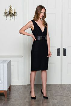 Fitted V Dress - Black   Emerson Fry