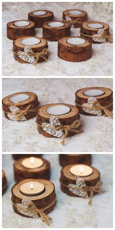 50 set Rustic candle holders Valentine table decor Wood tealight holders Woodland Rustic wedding decor Eco wood home decor Lace table decor #rusticweddings #weddings #weddingideas