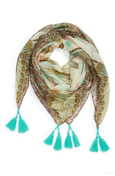 Love the pretty mint tassels on this paisley print scarf.