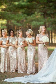 Hot Selling 2014 Crew Sheath Sequin Bridesmaid Dress With Short Cao Sleeve  Full Length Champagne Color Maid Of Honor Evening Wear Gown
