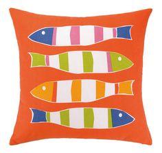 Picket Fish Orange Fish Outdoor Pillow