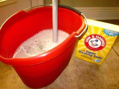 Heavy duty floor cleaner recipe:  ¼ cup white vinegar   1 tablespoon liquid dish soap   ¼ cup baking soda   2 gallons tap water , very warm. I do this once a month. Works great. I use a little less water