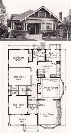 Plan No. R-856 c 1918 Cottage House Plan by A. E. Stillwell - vintage bungalows plans   Transitional Bungalow Floor Plan -