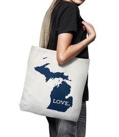 Michigan Tote Bag // Unique Gift Idea // Home by HopSkipJumpPaper