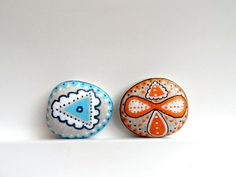 Painted Stones  Blue Orange Decor Set of 2. $34.00, via Etsy.