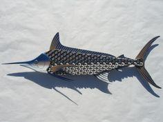 Peces de metal de la pared arte - Blue Marlin pescado chapas
