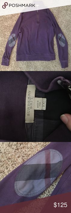 Burberry sweatshirt Purple Burberry Brit pullover sweatshirt. Burberry check pattern on elbows. Has been worn/washed but in great condition! Burberry Tops Sweatshirts & Hoodies