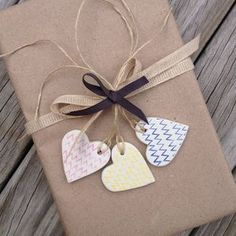 clay gift tag - rustic chevron hearts {set of 3} by mud by nest