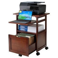 Shop for Winsome Piper Work Cart / Printer Stand with key board. Get free delivery On EVERYTHING* Overstock - Your Online Office Furniture Store! Printer Desk, Printer Cart, Printer Cabinet, Printer Storage, Printer Stand, Office Printers, Best Printers, Filing Cabinet, Printer Station