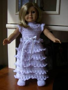 """Vintage Party Dress for American Girl Doll (18"""" doll) - CROCHET"""