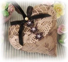 Valentine Heart Door Hanger Pillow 6 inch Brown by CharlotteStyle, $22.00