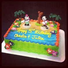 Mickey and Minnie Mouse luau theme birthday cake : Kate's.cakes Pensacola FL