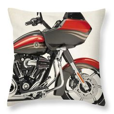 Harley Motorcycles Throw Pillow featuring the photograph Harley Davudson Cvo Road Glide Custom 2013a by Stephanie Hamilton