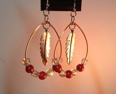 Fire Amber Agate Beaded Feather Hoop Earrings on Etsy, $19.99