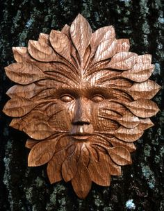 Oak Woodcut - Green Man--- love the overall shape of this carving. Nature Spirits, Got Wood, Zen Art, Wood Sculpture, Wood Art, Wood Carvings, Celtic, Image Search, Pottery
