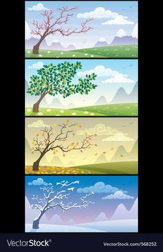 Season landscapes vector image on VectorStock Superhero Background, City Background, Free Vector Images, Vector Free, Watercolor Beginner, Watercolour, Four Seasons Art, Teacher Cartoon, Angel Vector