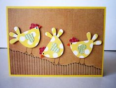 handmade card: Chicks Are Sticking Together by Misstreez ... luv these delightful punch art chichens with their heart punch wings ... kraft and corrugated paper background ... great card!!: