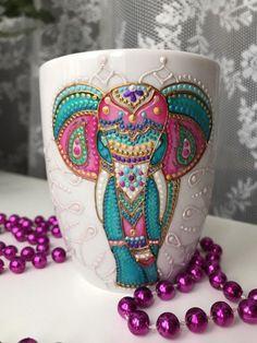 """Hand painted ceramic mug, """"Colorfull elephant"""", boho mug, personalized mug Hand Painted Dishes, Painted Clay Pots, Hand Painted Ceramics, Plant Crafts, Clay Pot Crafts, Pottery Painting, Ceramic Painting, Elephant Art, Personalized Mugs"""