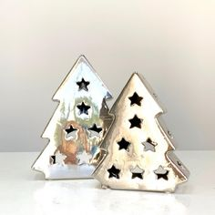 Set of two decorative Tree. Electroplating silverLarge: x x x x Ceramic Christmas Trees, Tree Decorations, Snow Globes, Ceramics, Winter, Ideas, Home Decor, Ceramica, Winter Season