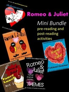 Do you have enough fun activities planned for Romeo and Juliet?  Check out this mini bundle to add to your files.  For a savings of over 30%, buy this pre-reading and post-reading activities bundle today to increase student engagement in your classroom.