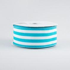 "1.5"" Vertical Stripe Ribbon: Turquoise & White (10 Yards) Chevron Ribbon, Fabric Ribbon, Ribbon Colors, Halloween Deco Mesh, Fall Halloween, Craft Outlet, Deco Mesh Ribbon, Wreath Forms, Christmas Deco"