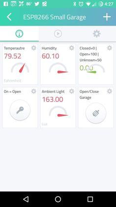 Screenshot of ESP8266 NodeMCU Garage Door Opener Cayenne IoT Android App