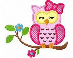 sleeping girl owl applique machine embroidery design by FunStitch