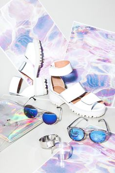 Reflective sunnies & flat chunky sandals - soak it up. #swim