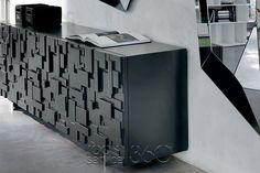 Labyrinth 3-Door Sideboard in Graphite by Cattelan Italia