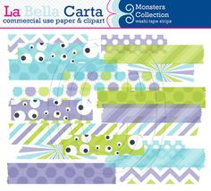 Monsters Washi Tape Clipart, washi clipart, for scrapbooking, card making, paper crafts. Commercial Use Clipart