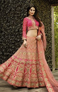 Picture of Appealing Salmon Bridal Designer Lehenga Choli