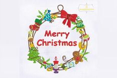 Decorative Merry Christmas Floral · Creative Fabrica Embroidery Files, Floral Embroidery, Machine Embroidery Designs, Merry Christmas, Christmas Ornaments, Sewing Projects, Applique, Stitch, Holiday Decor