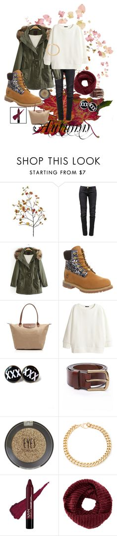 """""""Autumn"""" by luciii5430 ❤ liked on Polyvore featuring Balmain, Timberland, Longchamp, H&M, Topshop, Alessandra Rich, TOMS, women's clothing, women and female"""
