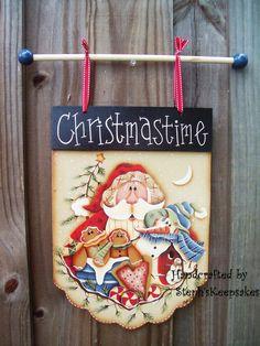 Handpainted Christmastime Banner by stephskeepsakes on Etsy, $27.99