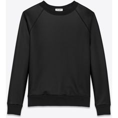 Saint Laurent Coated Crewneck Sweatshirt In Black French Terry Cloth ($850) ❤ liked on Polyvore featuring tops, hoodies, sweatshirts, black, black top, black sweat shirt, crew-neck sweatshirts, sweat tops and yves saint laurent