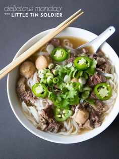 ♥ Beef pho (Note: Less or no onion, add cloves, all spice, white pepper and lime)